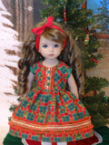 Yuletide Holly - dress, tights & shoes for Little Darling Doll or 33cm BJD