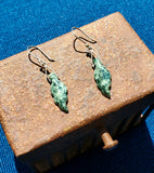Hand cut/Polished Jadeite & Sterling Silver Earring