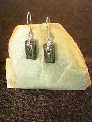 Green Jadeite & Sterling Silver Earrings  | Hand Cut and Polished