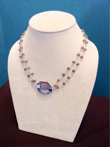 Door County Geode & Sterling Silver Necklace