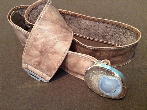 Door County Geode Leather and Sterling Silver Belts