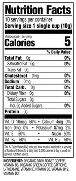 SuperCoffee nutrition label