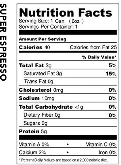 SuperEspresso nutrition label