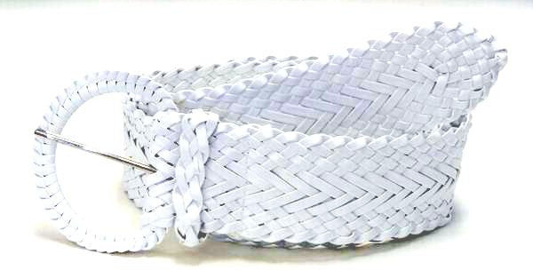 Wholesale Girl's Wide Braided Casual Belt White belt 3002WH
