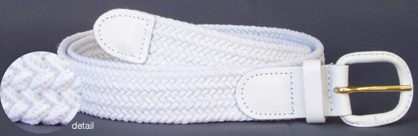 Men's Elastic Braided Stretch Golf Belt White Color 7001LWH