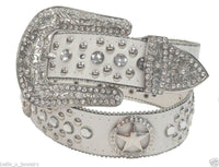 WHITE Western Texas Star Cowgirl Rhinestone Belt 50131WH
