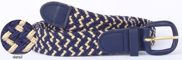 Wholesale Men's Elastic Braided Stretch Golf Belt Multi Navy Color