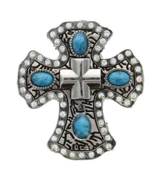 TURQUOISE Cross conchos 3pcs lot CH141TQU