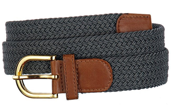 Mens Elastic Stretch Belt Wholesale, Wholesale Men's Elastic Braided Stretch Golf Belt DARK GRAY Color