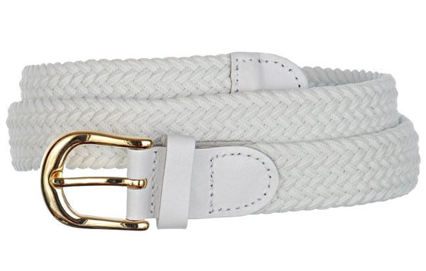 Wholesale Lady's Elastic Braided Stretch Golf Belt WHITE Color 6001WH