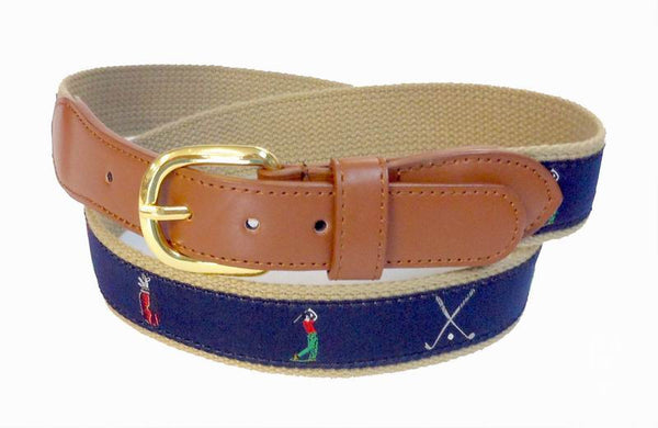 Golf Foursome PGA Sports Leather Cotton Belt Wholesale 9809