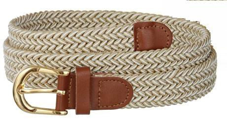 Wholesale Lady's Elastic Braided Stretch Golf Belt Multi Color Beige White 6020BGWH