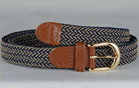 Wholesale Lady's Elastic Braided Stretch Golf Belt Multi Color Navyt Beige 6020NBBG