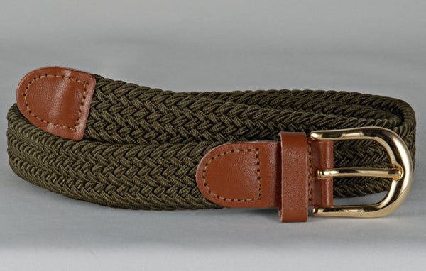 Wholesale Lady's Elastic Braided Stretch Golf Belt OLIVE Color 6001OV