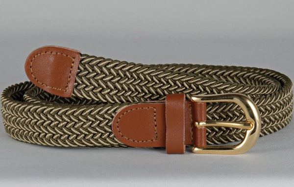 Wholesale Lady's Elastic Braided Stretch Golf Belt Multi Color Olive Beige 6020OVBG
