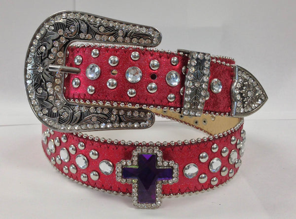 Red Western Cross Rhinestone Cowgirl Belt 50132RD