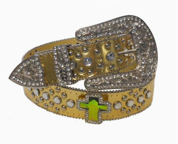 Gold Western Cross Rhinestone Cowgirl Belt Wholesale 50132GD