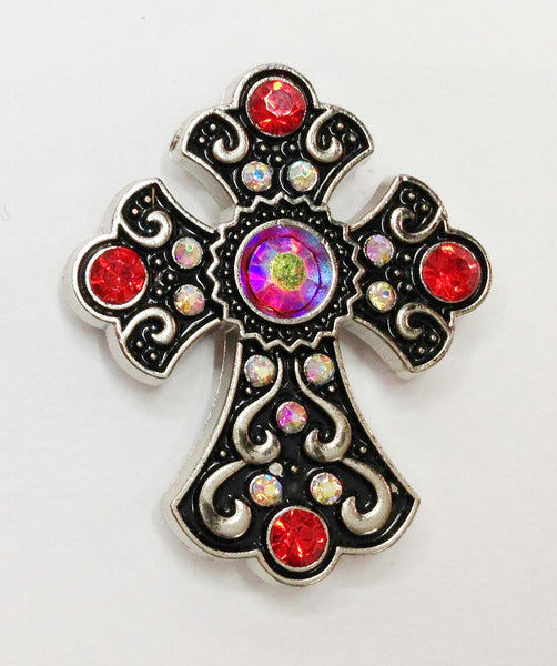 Western Red Rhinestone Cross Conchos 3 pcs CH166RD