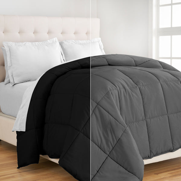 Bare Home, comforter, reversible comforter, down alternative, premium ultra soft microfiber, microfiber comforter, black/grey reversible premium ultra soft down alternative comforter