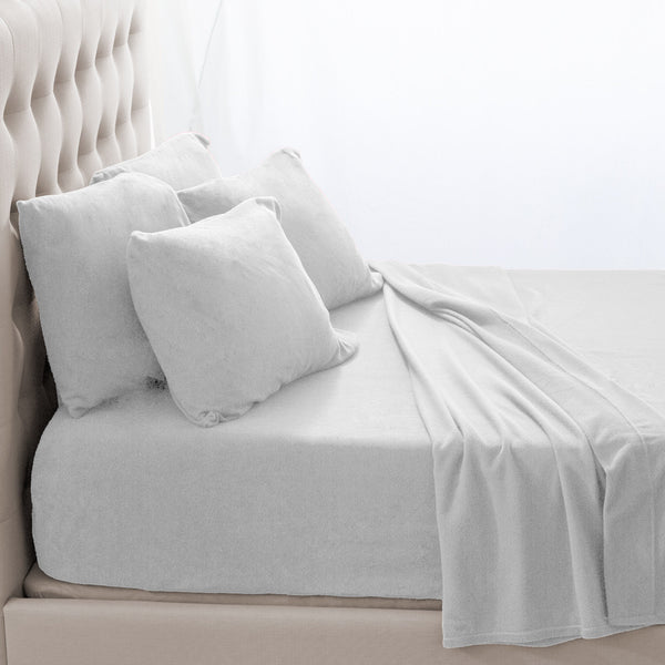Bare Home, micro fleece, micro fleece sheets, micro fleece sheet sets, fleece sheets, fleece sheet sets, twin sheets, twin xl sheets, twin extra long sheets, full sheets, full xl sheets, queen sheets, king sheets, split king sheets, cozy, deep pocket, hypoallergenic, premium sheet set, white micro fleece sheet set