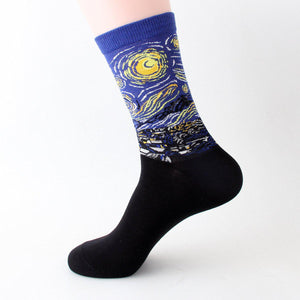 Fine Art Painting Men's Crew Socks - - UPKIWI