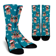 Christmas Pug Sublimated Crew Socks