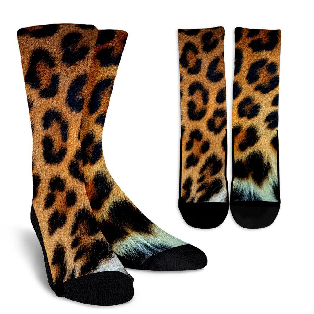 Leopard Skin Sublimated Crew Socks