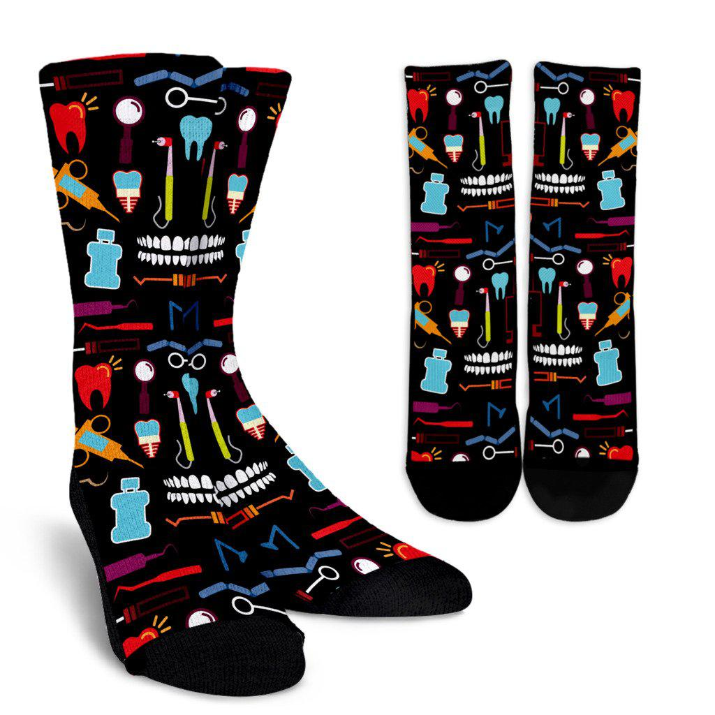 Dental Tools Sublimated Crew Socks - Black