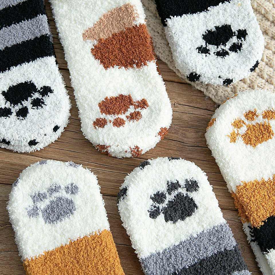 Fluffy Cat Paw Fuzzy Fleece Socks - - UPKIWI