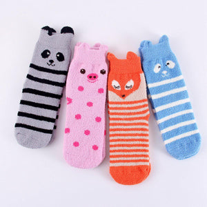 Fuzzy Animal Fox Ear Women's Soft Fleece Sleep Socks - UPKIWI