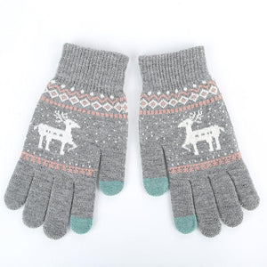 Winter Reindeer Touch Screen Gloves - Black - UPKIWI