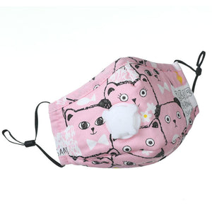 Kids' Face Mask with replaceable PM2.5 Filter - Pink Bear - UPKIWI