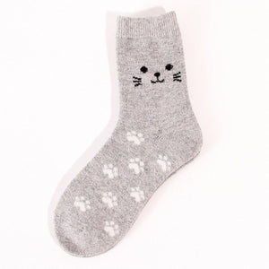 Cat Footprint Wool Blend Socks - UPKIWI