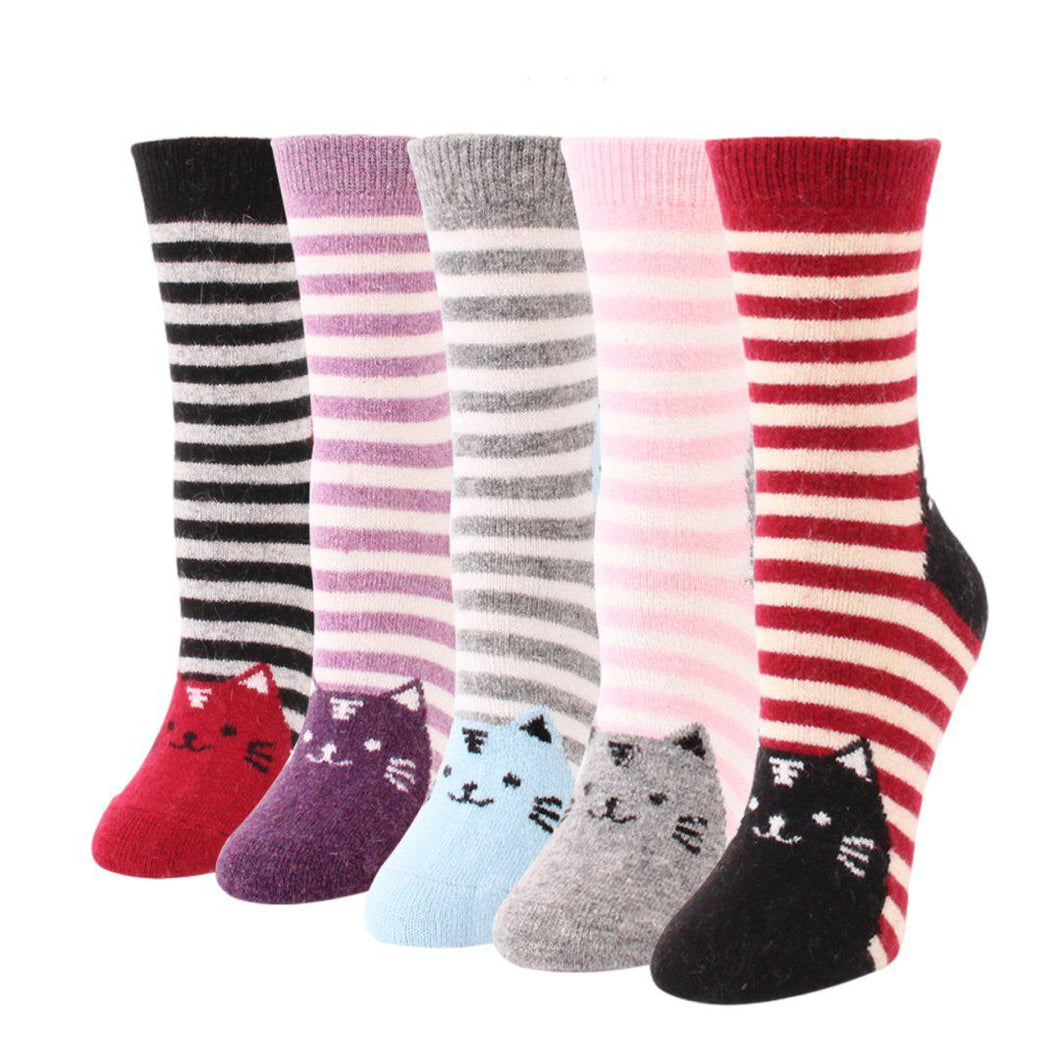 Striped Cat Wool Blend Socks - UPKIWI