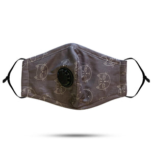 Breathable and Adjustable Cat Pattern Face Mask with replaceable PM2.5 Filter - UPKIWI