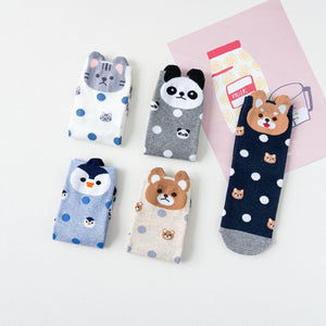 Animal Polka Dot Women's Ankle Socks - 5 Pairs Pack / Women's Shoe Size 5-10 - UPKIWI