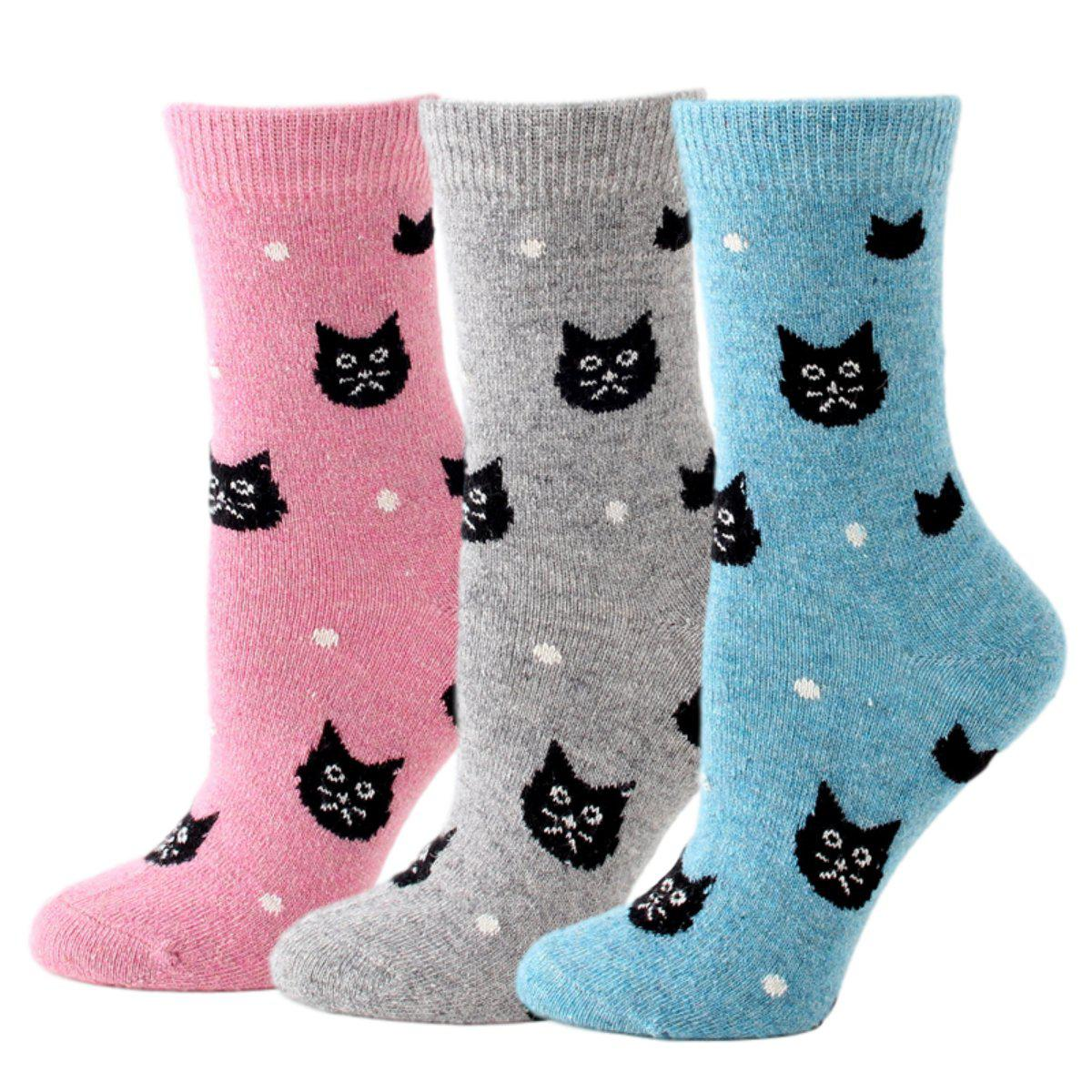 Snowy Cat Wool Blend Socks
