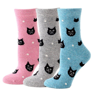 Snowy Cat Wool Blend Socks- Limited Time Offer - 3 Pairs Pack / Women's Shoe Size 5-10 - UPKIWI