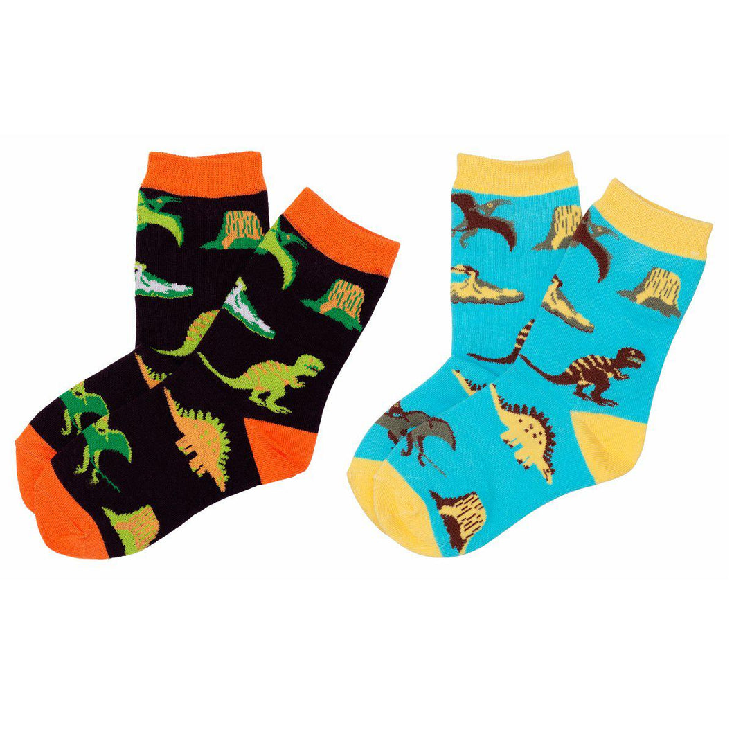 Dinosaur World Toddler Kids Crew Socks - M/ 4-7 Years Old (11c-13c) / Dinosaur World - 2 Pairs - UPKIWI