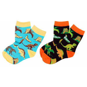 Dinosaur World Toddler Kids Crew Socks - S/ 2-4 Years Old (8c-10c) / Dinosaur World - 2 Pairs - UPKIWI