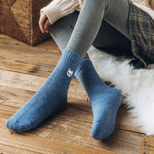 Embroidery Cat Ultra Thick and Warm Wool Blend Socks - UPKIWI