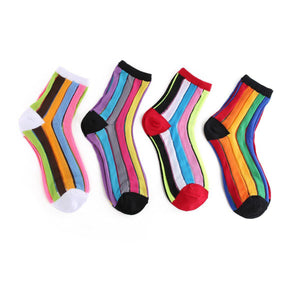Rainbow Stripe Women's Sheer Socks - Women's Shoe Size 5-9 / Multi Color Rainbow- 4 Pairs Pack - UPKIWI