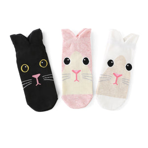 Bunny Rabbit Ear Women's Cotton Socks - 3 Pairs Pack / Women's Shoe Size 5-9 - UPKIWI