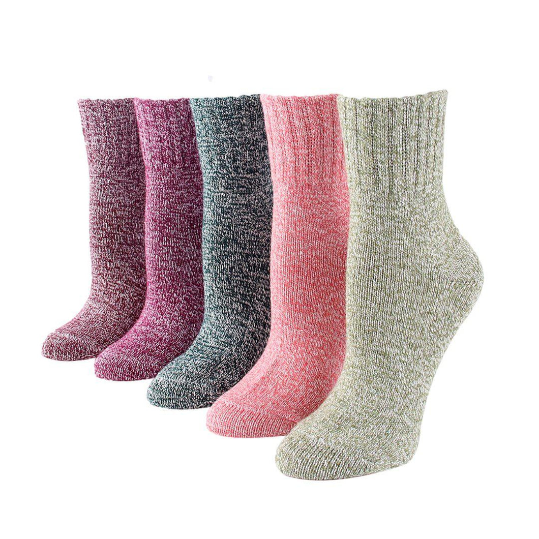 Colorful Thick Knit Women's Winter Fashion Socks - 5 Pairs Pack / Women's Shoe Size 5-9 - UPKIWI