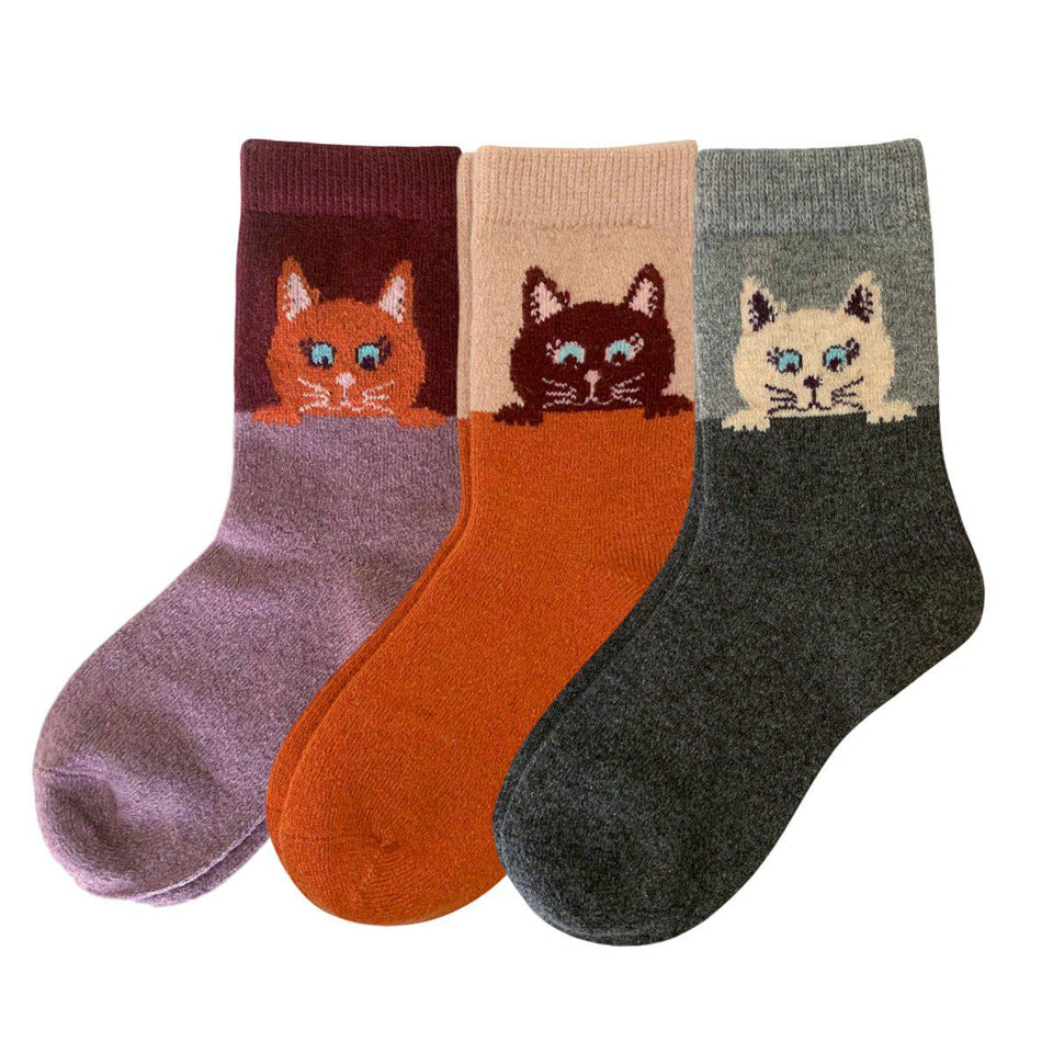 Peekaboo Cat Wool Blend Socks - 3 Pairs Pack / Women's Shoe Size 5-10 - UPKIWI
