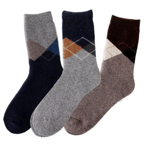 Argyle Extra Thick and Warm Men's Wool Socks - 3 Pairs Pack / Men's Shoe Size 7-13 - UPKIWI