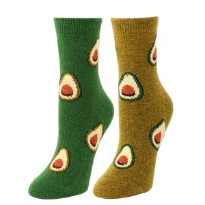 Avocado Pattern Women's Winter Wool Socks - 2 Pairs-Green / Women's Shoe Size 5-10 - UPKIWI