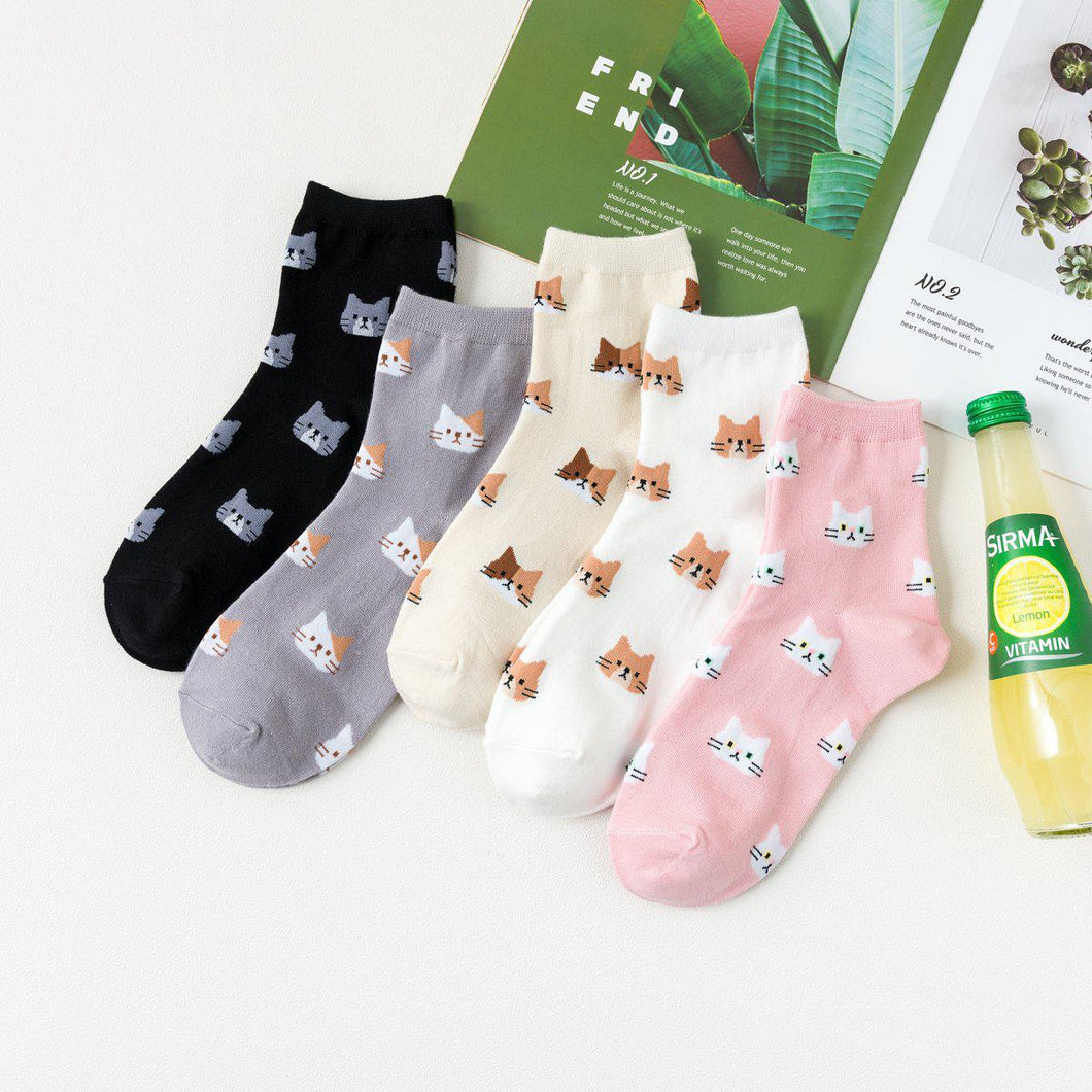 Kitty Cat Pattern Women's Ankle Socks - - UPKIWI