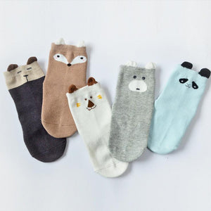 Animal Ears Kids Cotton Socks - Boy-5 Pairs Pack / S 0-12M - UPKIWI