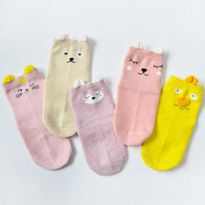 Animal Ears Kids Cotton Socks - Girl-5 Pairs Pack / S 0-12M - UPKIWI